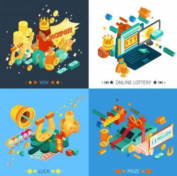 4 olika casinorelaterade bilder i blå ton.